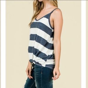 Tops - Navy and White Stripe Top